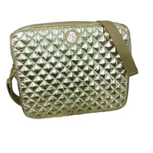 Tory Burch Gold Quilted Laptop Bag